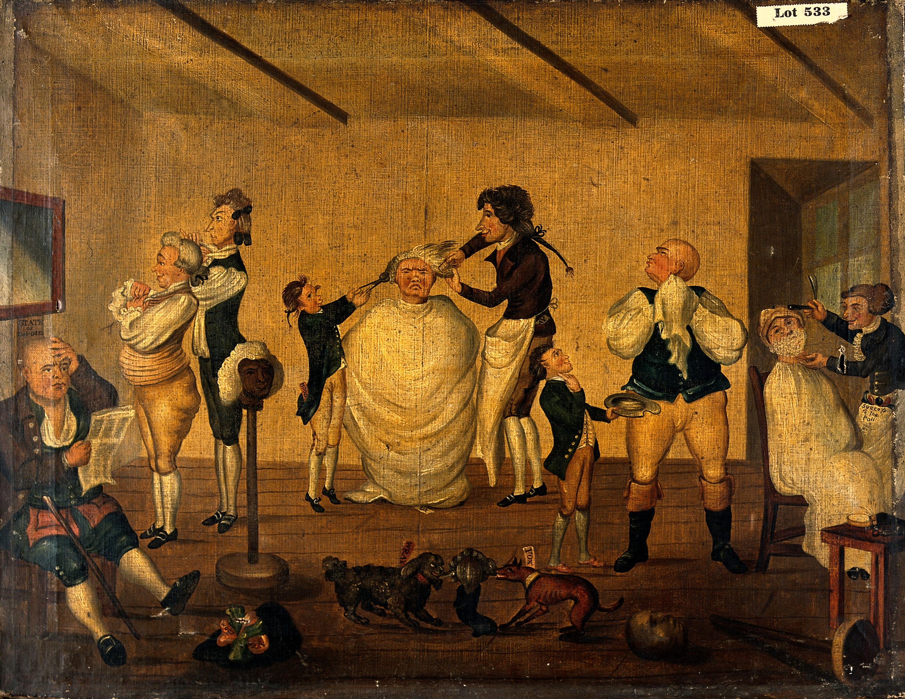 File:A barber's shop, 1784. Oil painting after Henry William Bunb ...