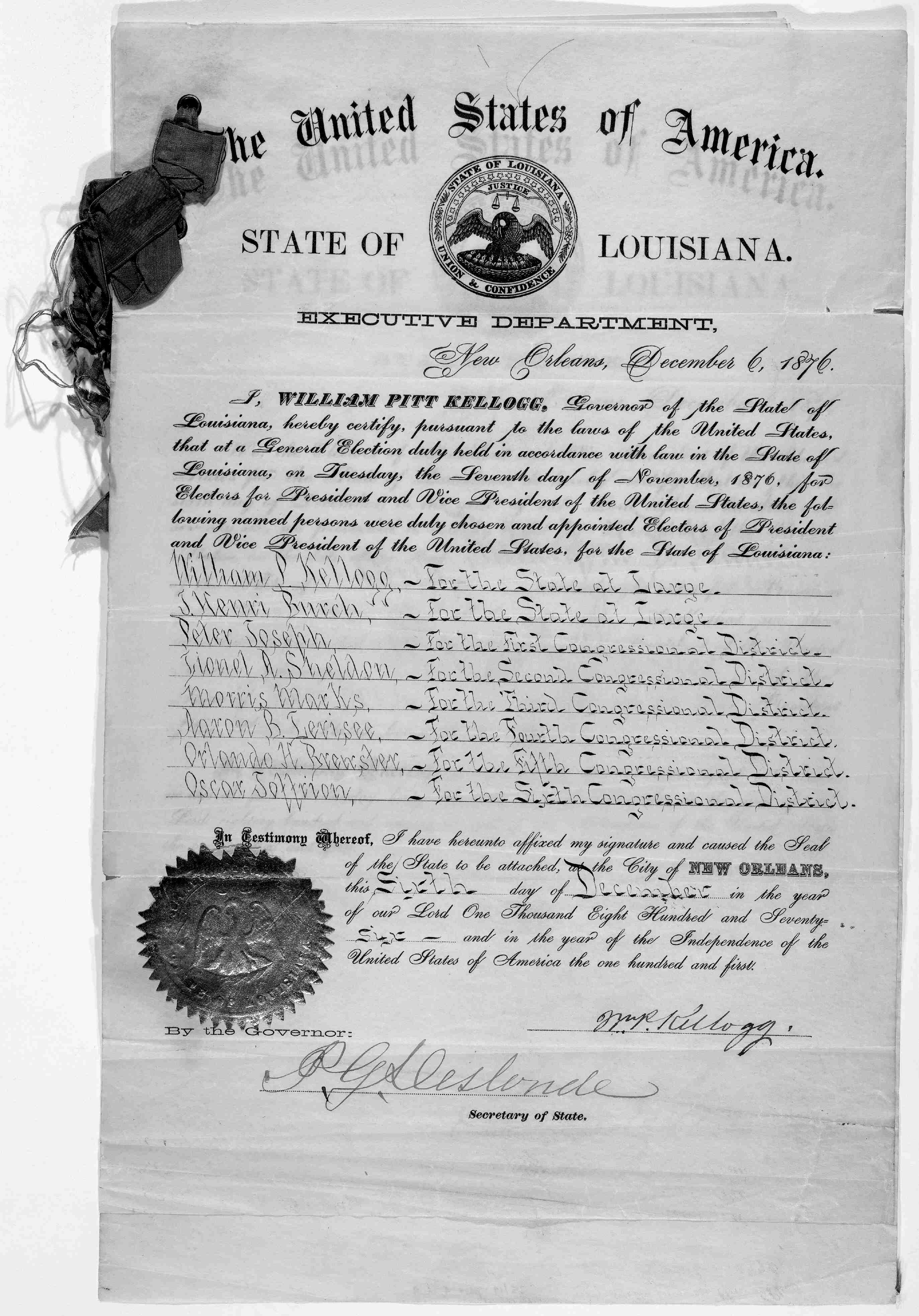 Filea Certificate For The Electoral Vote For Rutherford B Hayes