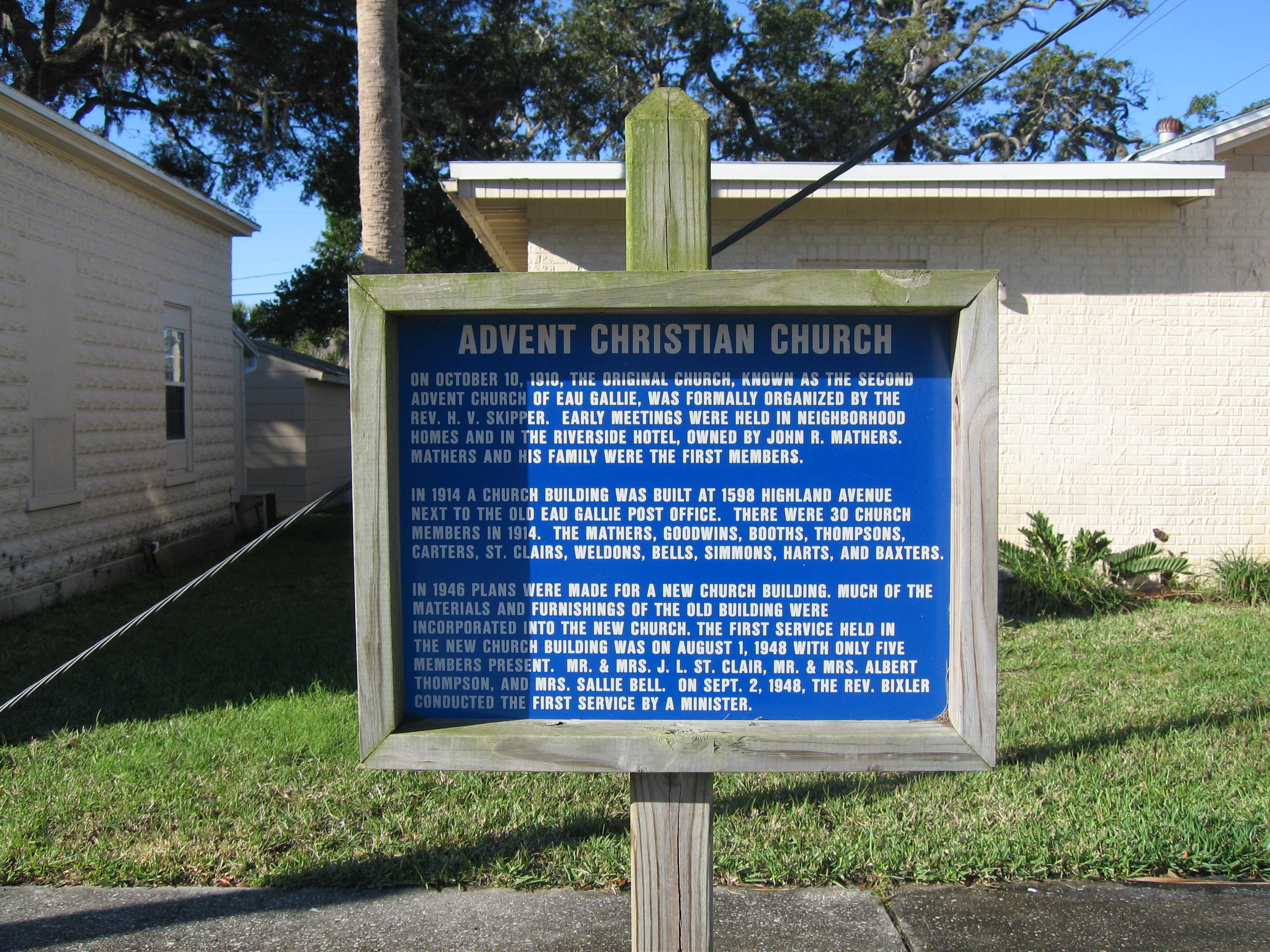 File:Advent Christian Church (Eau Gallie, Florida) Historical ...