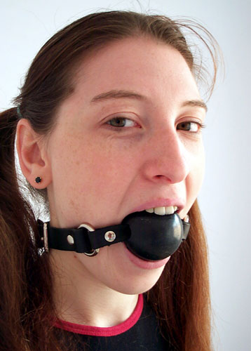 Girls ball gagged