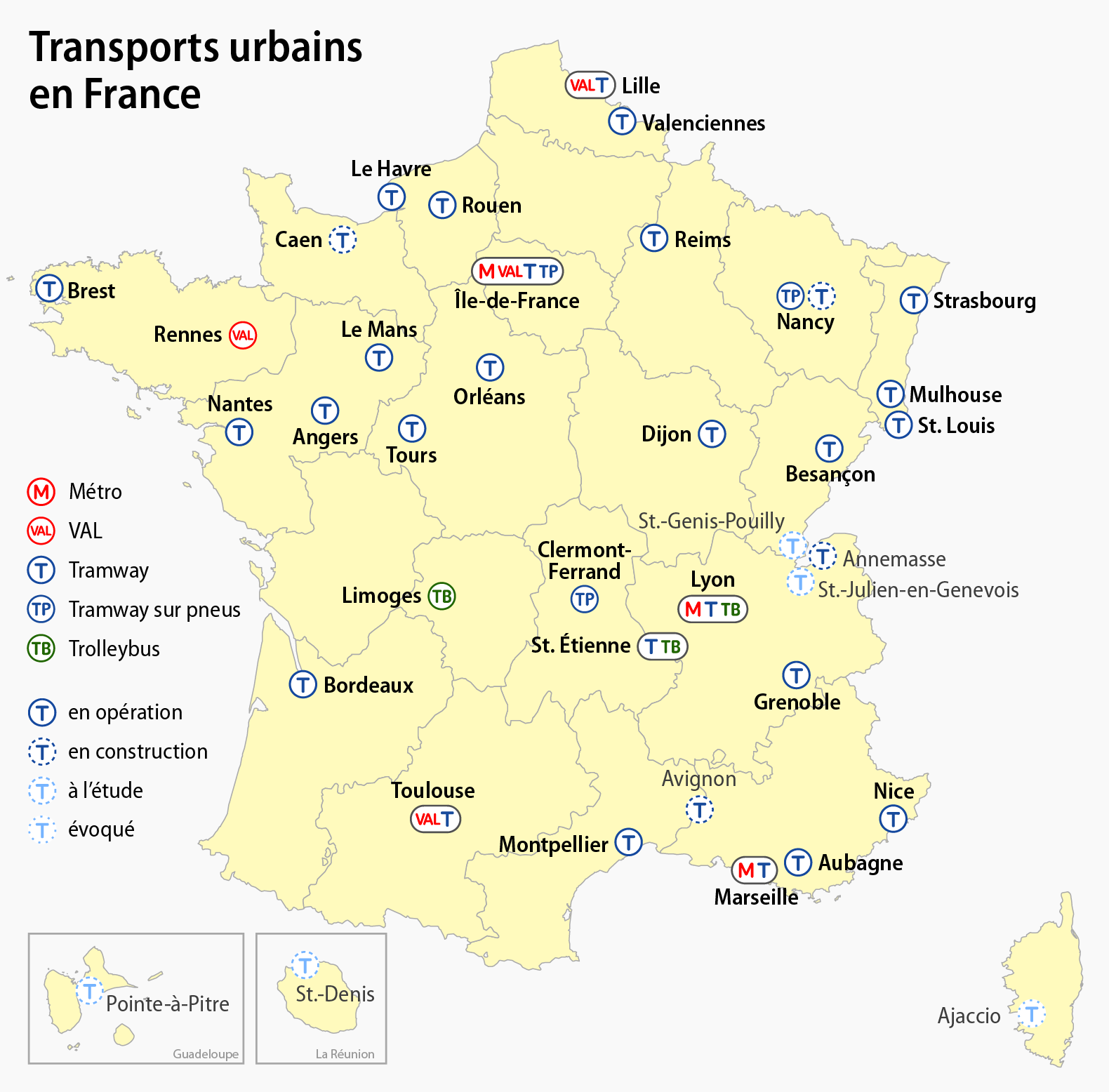 carte de france strasbourg File:Carte des transports urbains en France.png   Wikimedia Commons