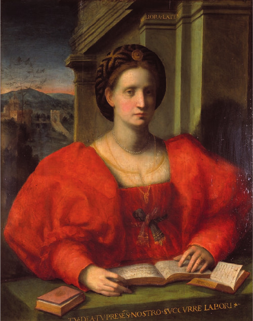 Portrait of a Lady Reading a Music Book inscribed 'Petrarcha'