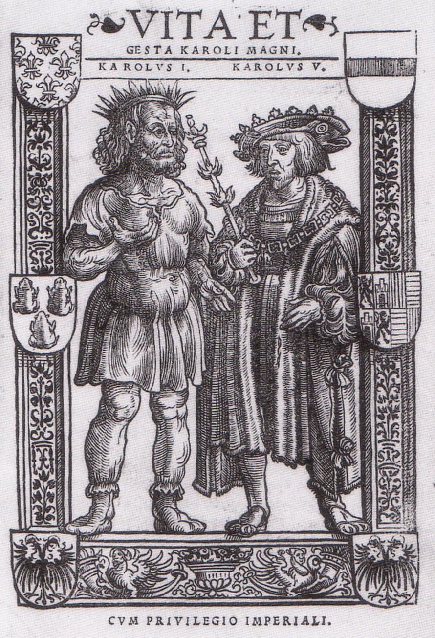 Karl den store og Karl V i Editio princeps av Vita Karoli Magni. Johannes Soter, Köln 1521