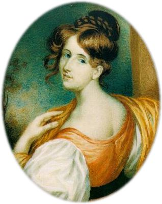Elizabeth Gaskell: 1832 [[portrait miniature|miniature]] by William John Thomson