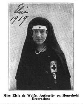 Elsie de Wolfe in Red Cross volunteer uniform, from a 1919 publication. ElsiedeWolfe1919.png