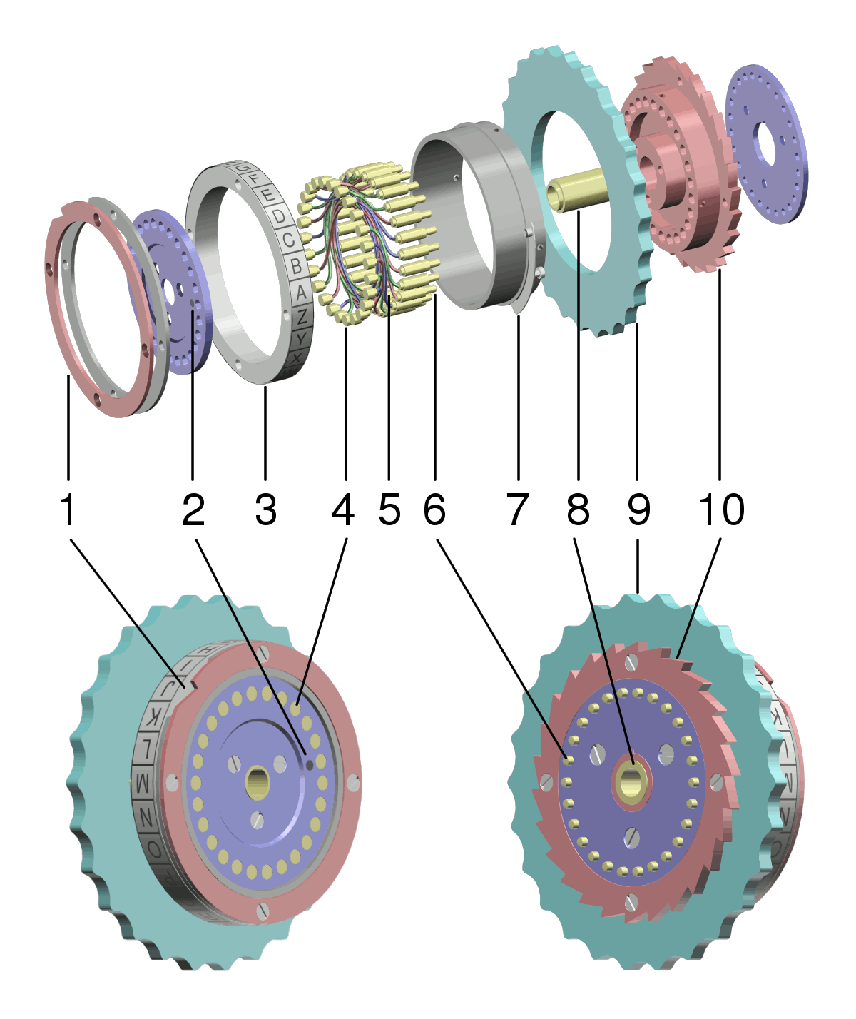 enigma rotor details enigma rotor exploded view png