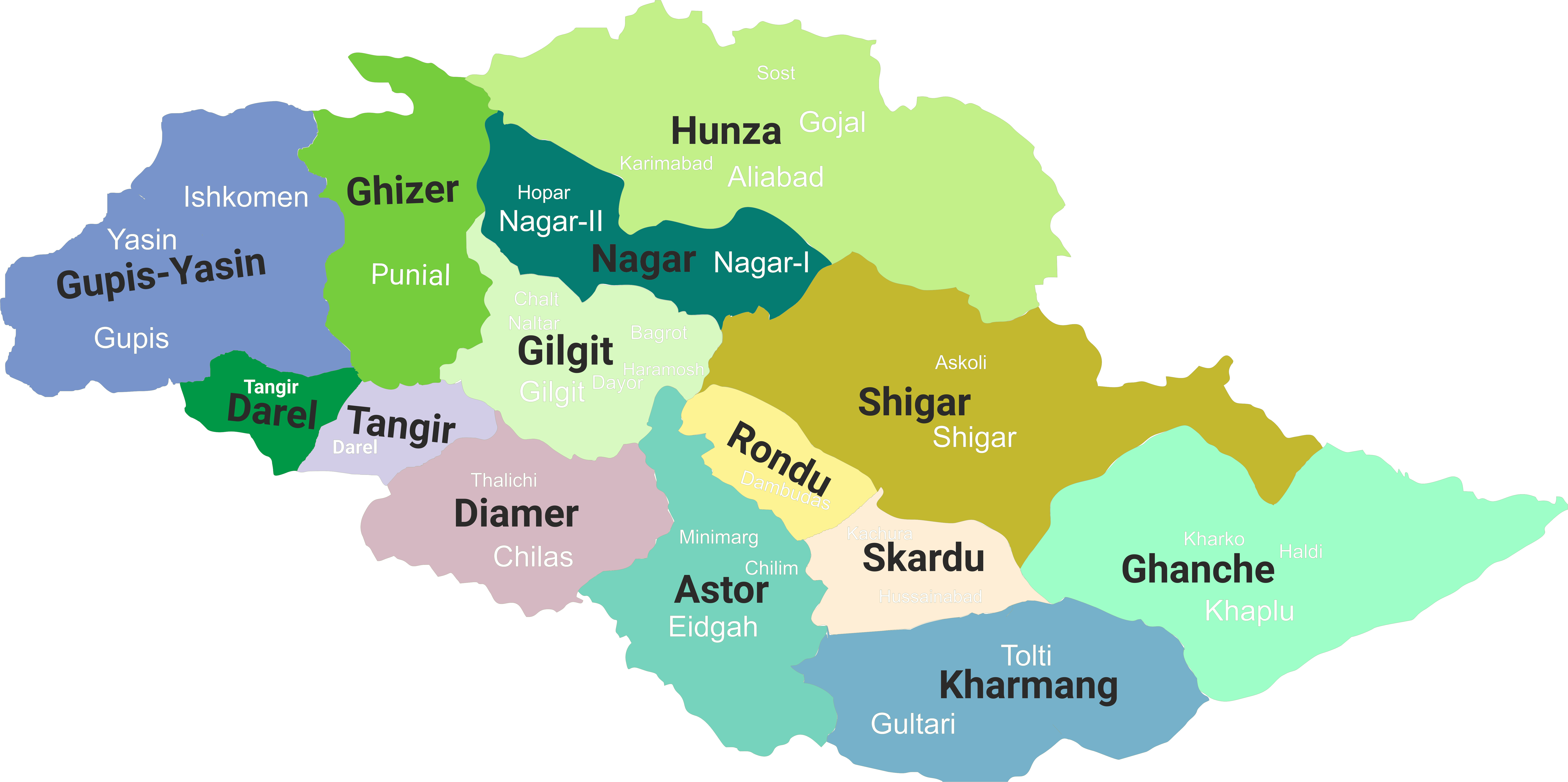 Districts of Gilgit Baltistan