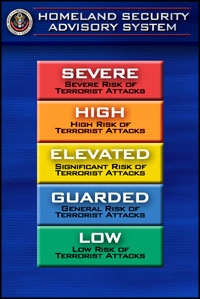The Homeland Security Advisory System scale