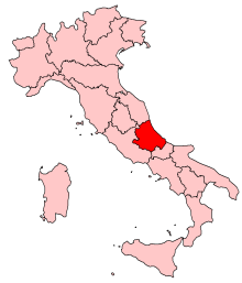 Map of Italy, location of Abruzzo highlighted