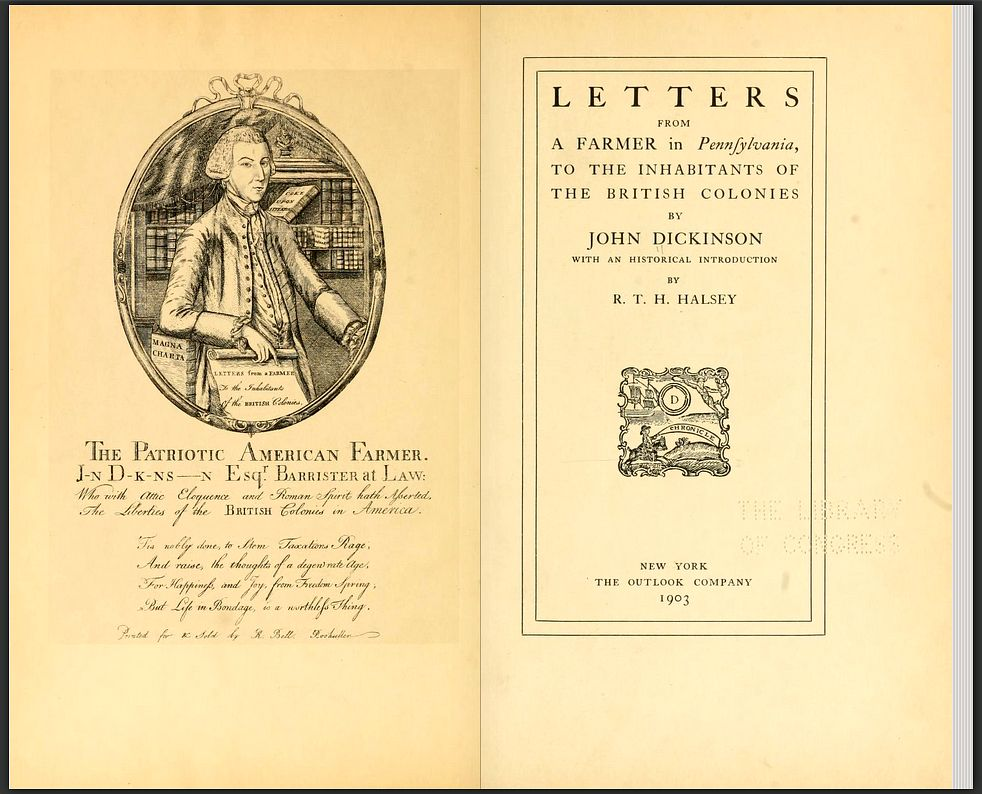 Letters from a Farmer In Pennsylvania by John Dickinson