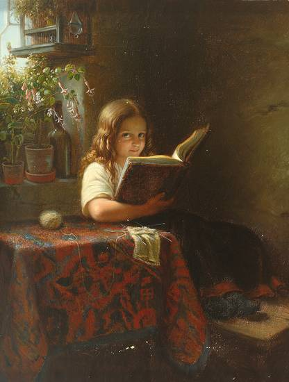 Lesendes Mädchen 19 Jh