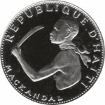 Haitian coin (20 gourdes) bearing the image of François Mackandal,  leader of a slave rebellion