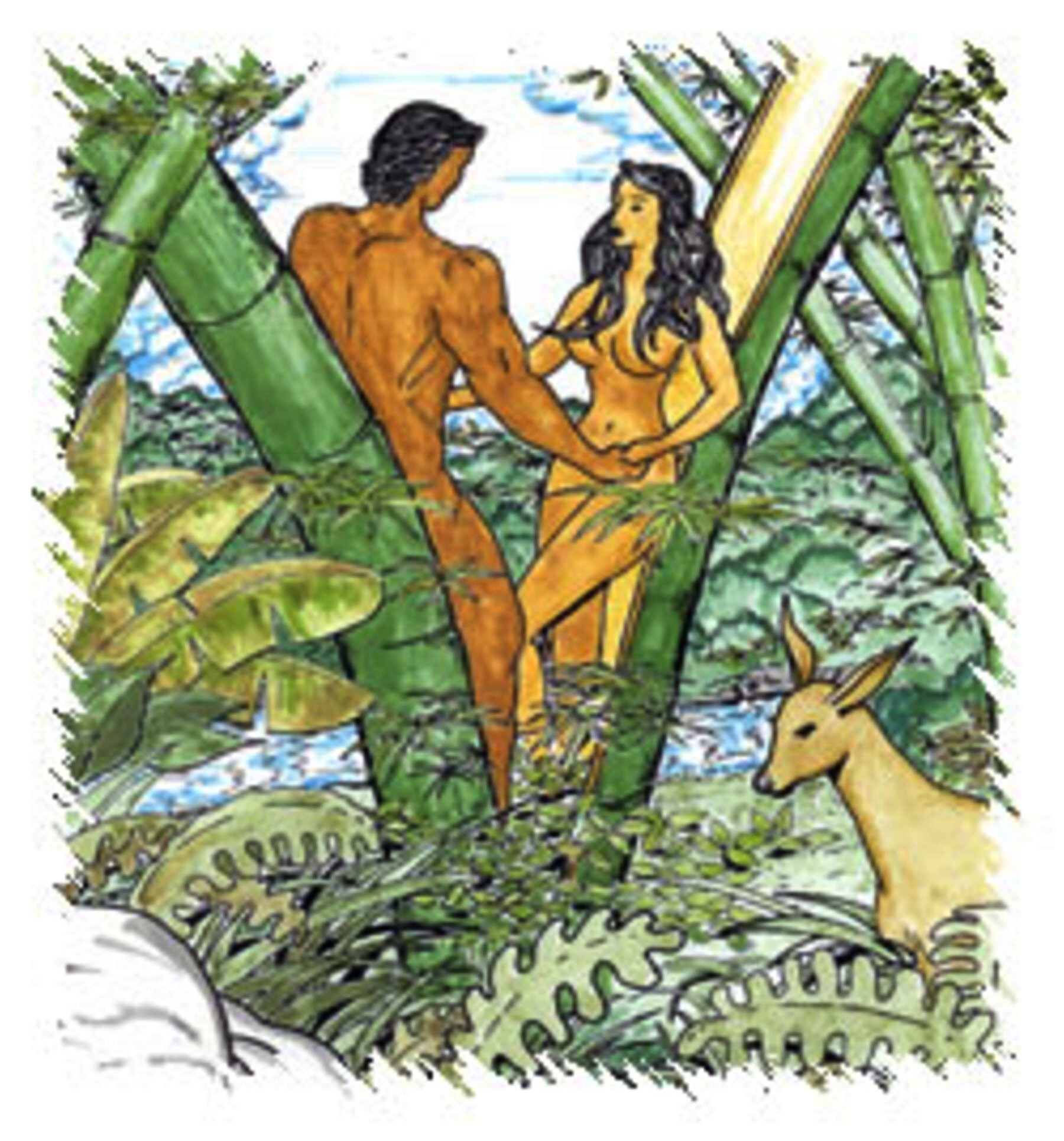 Description Malakas and Maganda Emerging from Bamboo BambooMan.jpg