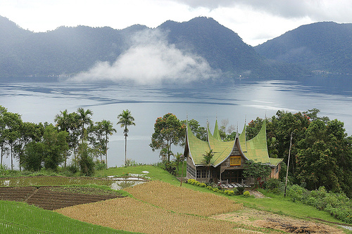 image of caldera crated formed lake maninjau in indonesia