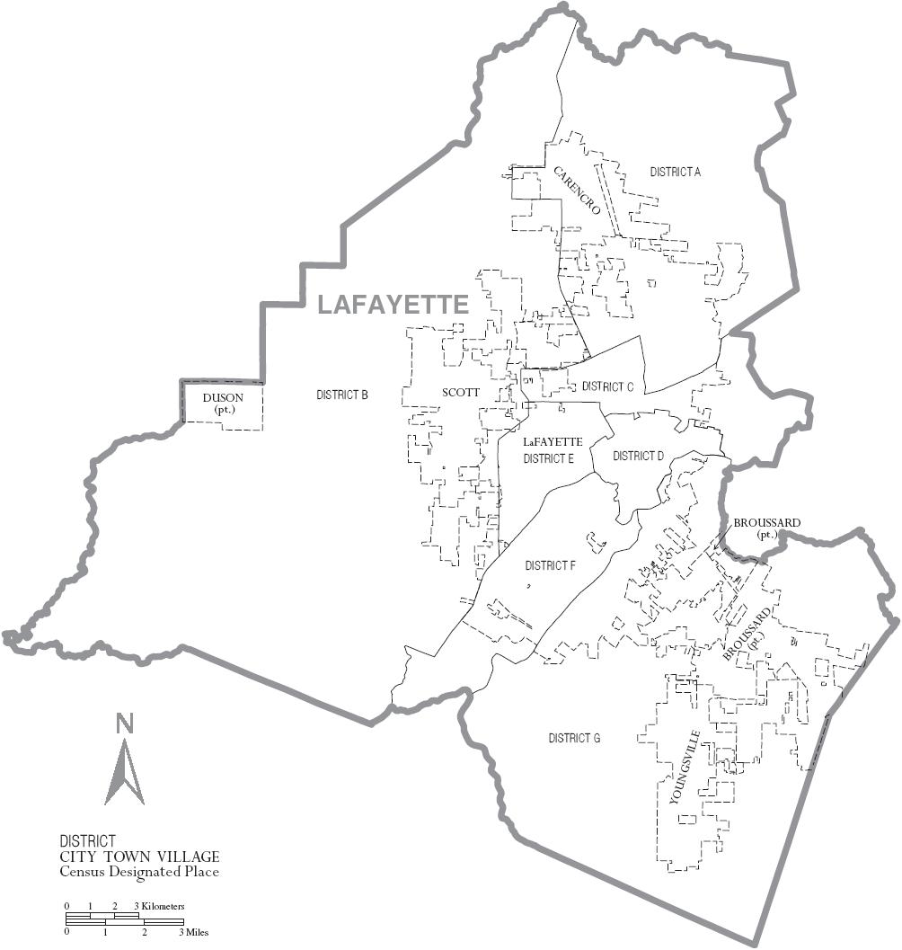FileMap of Lafayette Parish Louisiana With Municipal and District