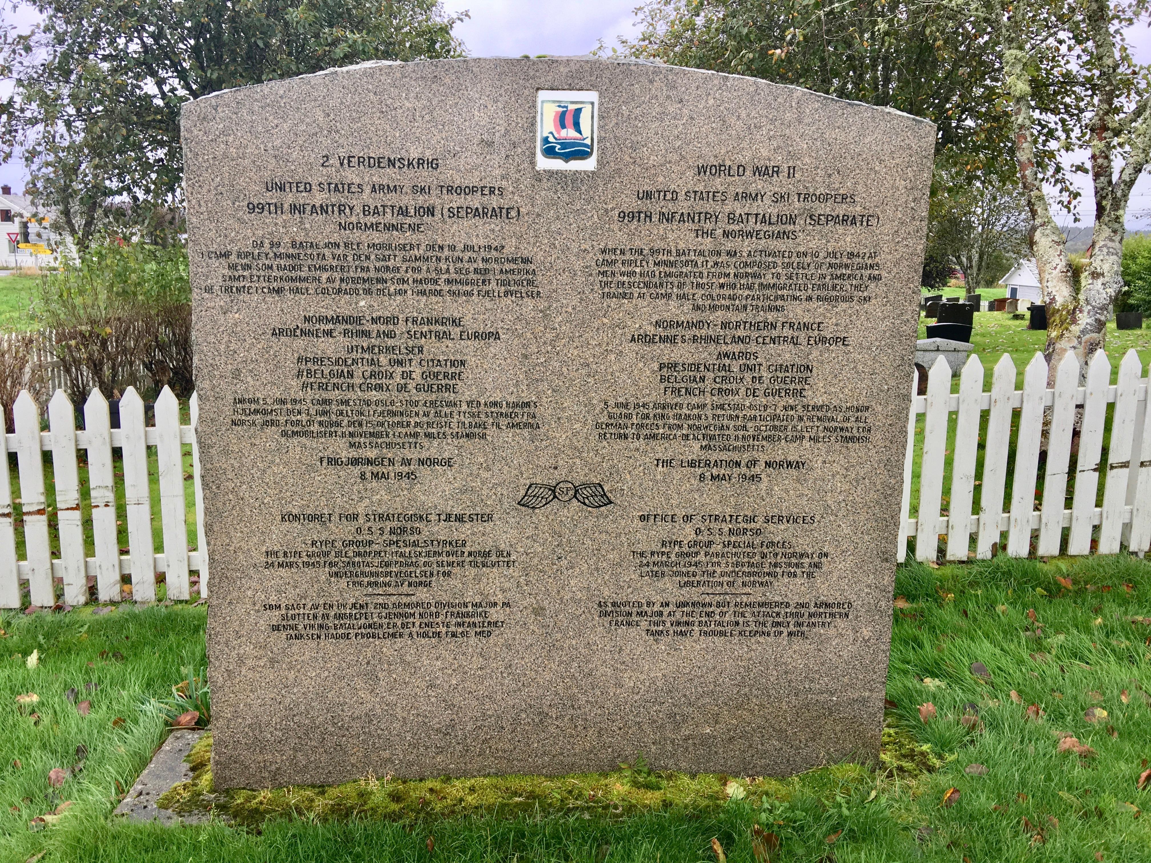 FileMinnesttte Memorial Stone 2 Verdenskrig WW2 US Army Ski Troopers 99th Infantry Battalion Office Of Strategic Services Ved Emigrantkyrkja