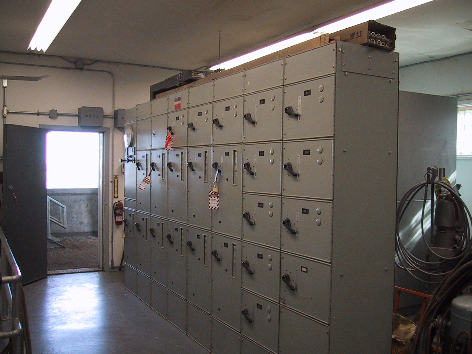 A small, early 1960s-vintage motor control center for 480 volt motors.