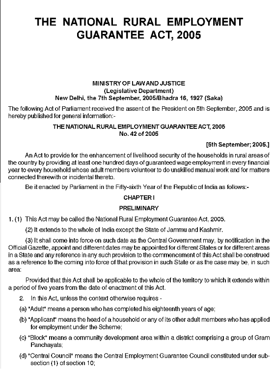 National Rural Employment Guarantee Act, 2005 - Wikipedia
