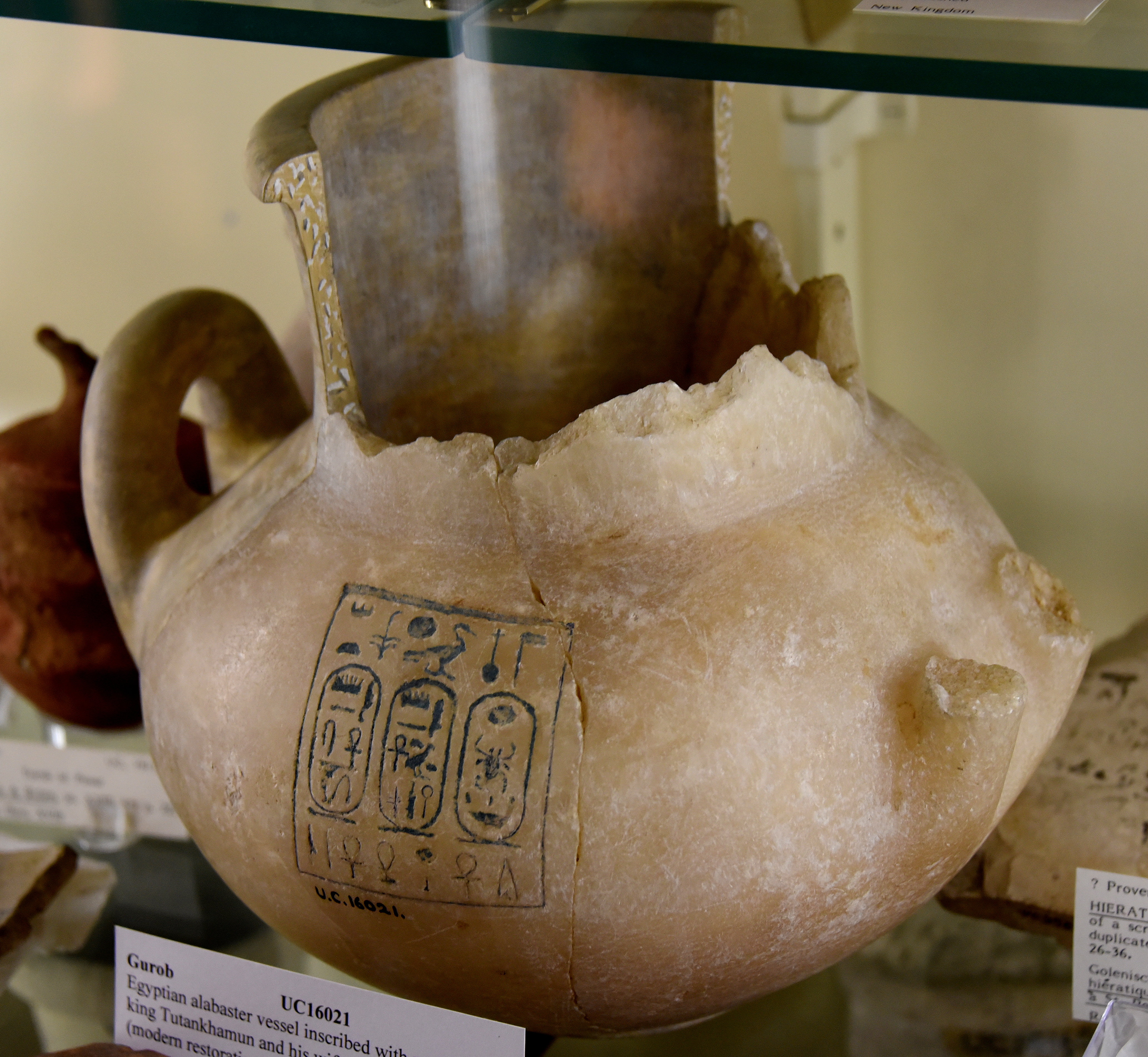 File:Partially restored alabaster jar with 2 handles. It bears the ...