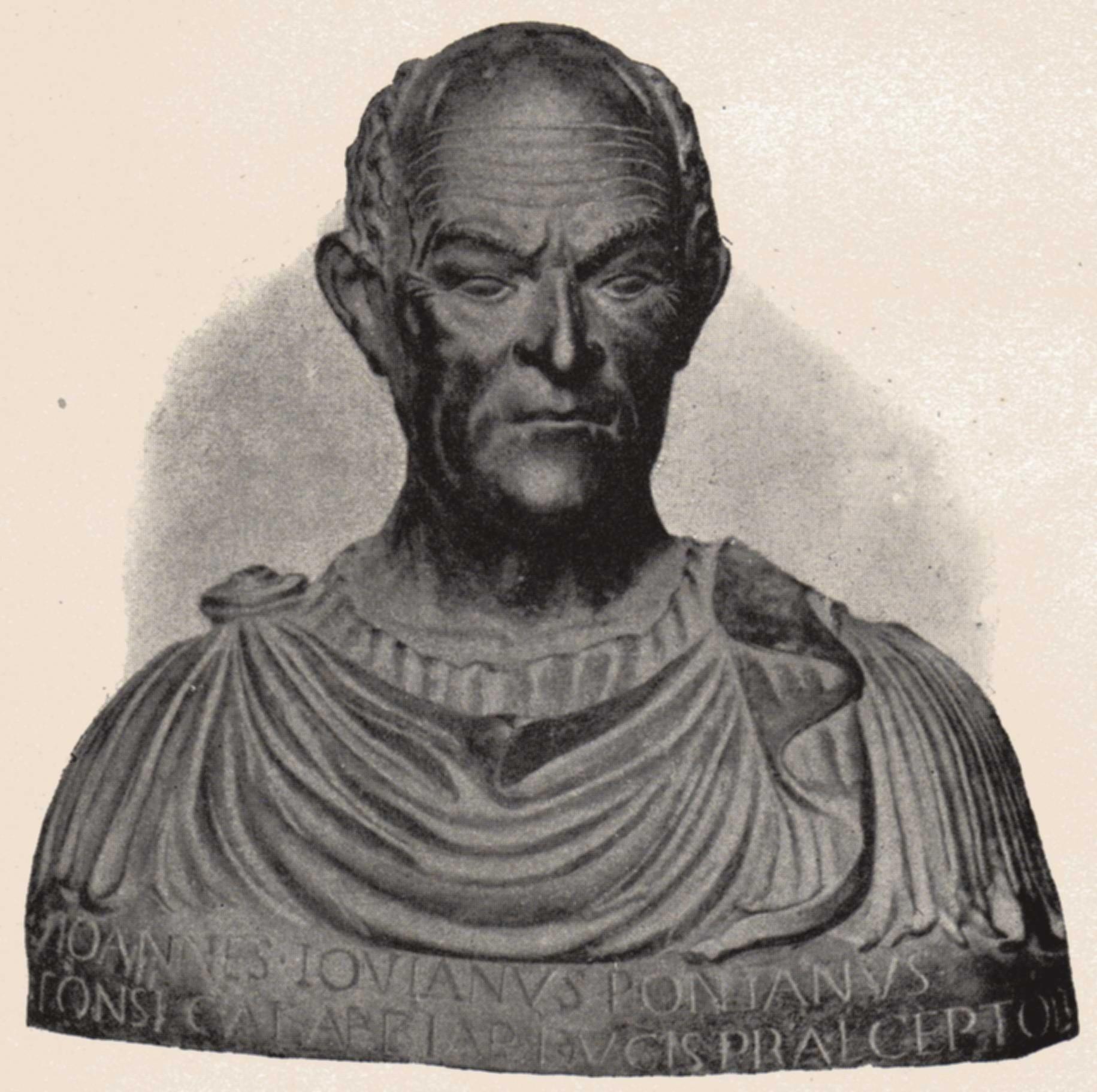 Bust of Pontano by [[Adriano Fiorentino]], in the {{Interlanguage link multi|Museo di Sant'Agostino di Genova|it}}