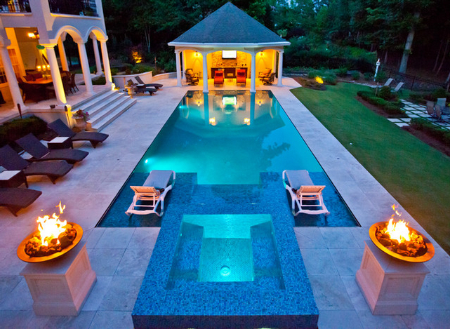 Freeform Pool With Raised Spa Combo