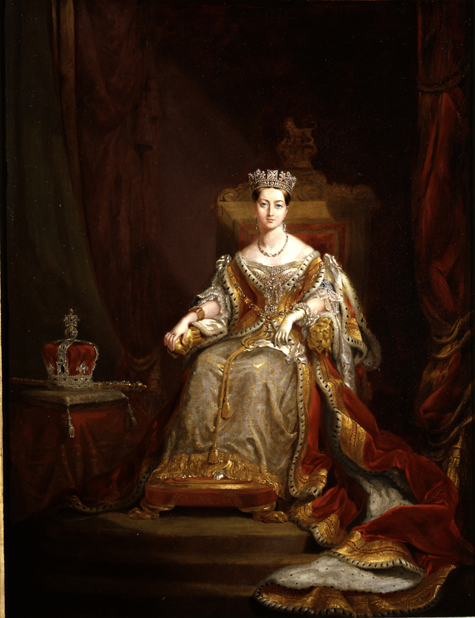FileQueen Victoria in Coronation robes 1838 (copy of original in  Guildhall).