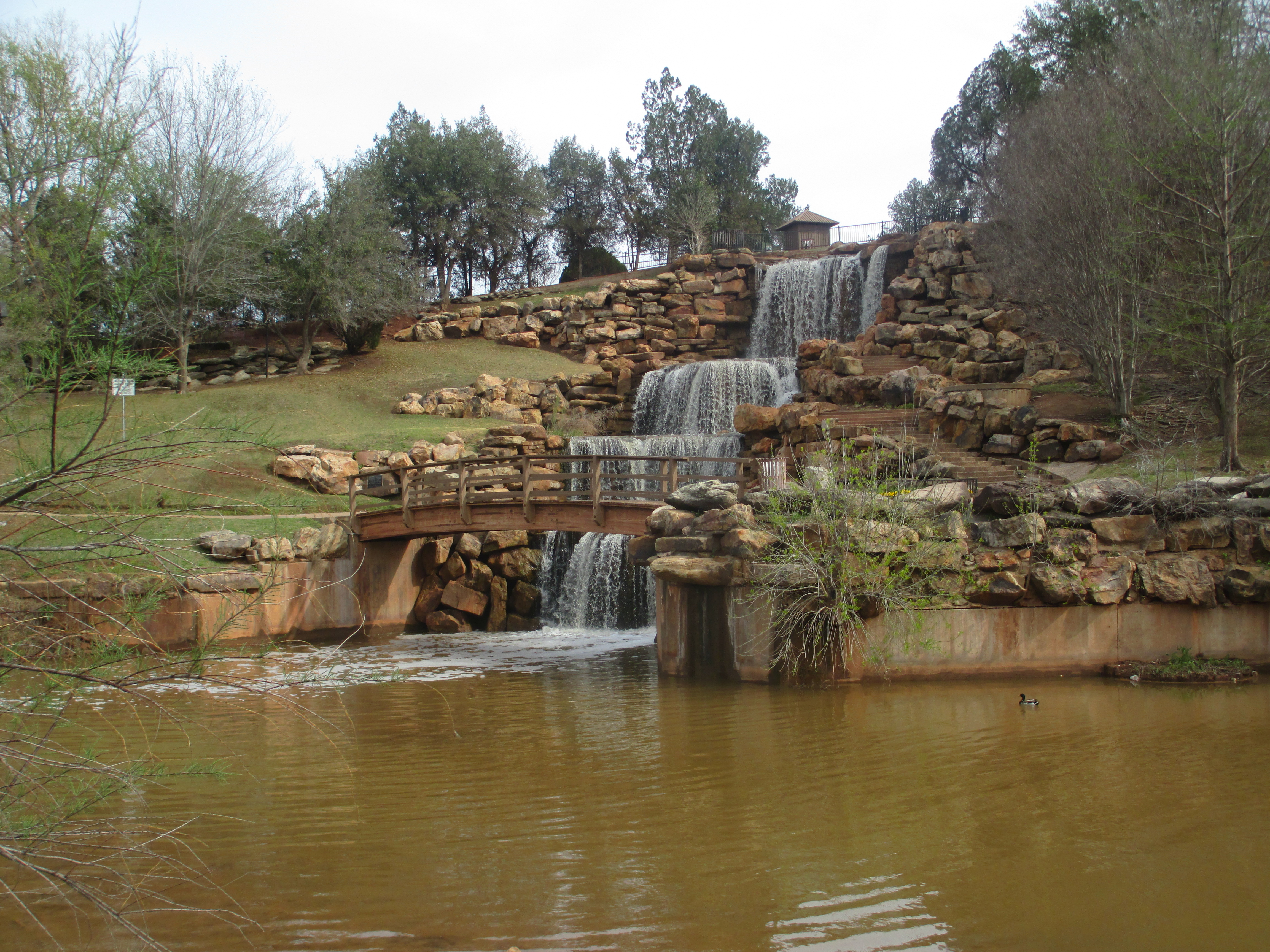 The restored falls of the wichita river in wichita falls texas off interstate 44
