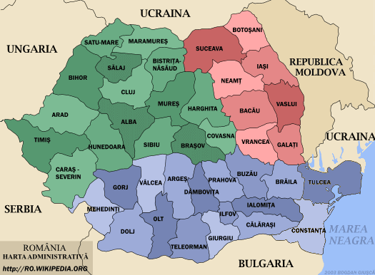 Administrative map of Romania