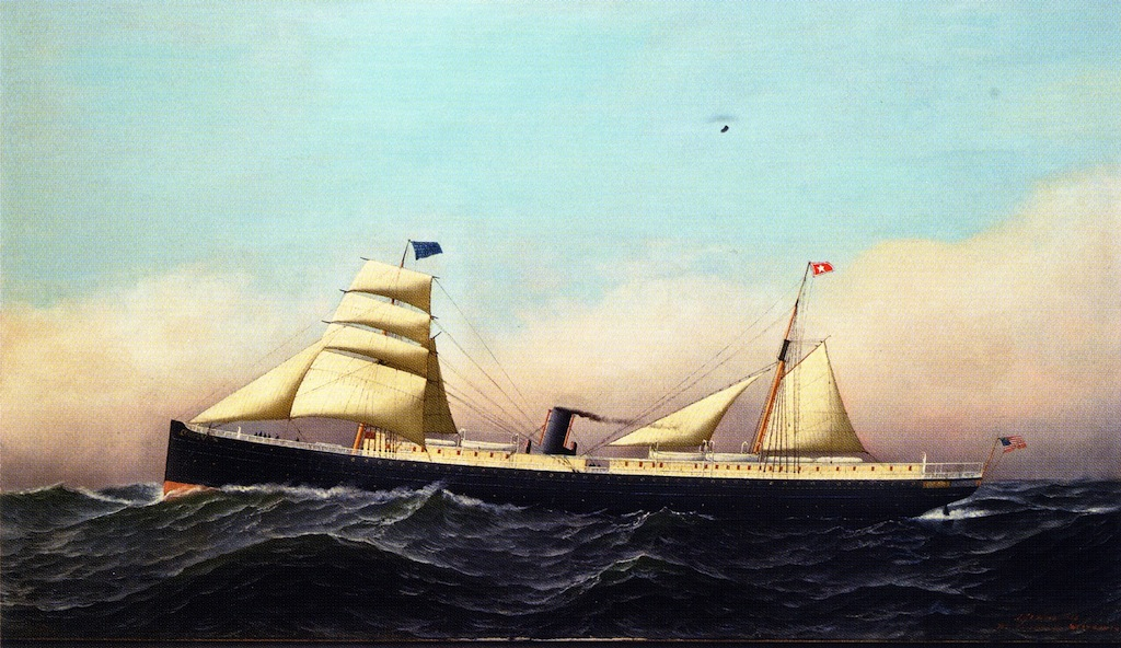 Columbia under full steam and sail in 1880.