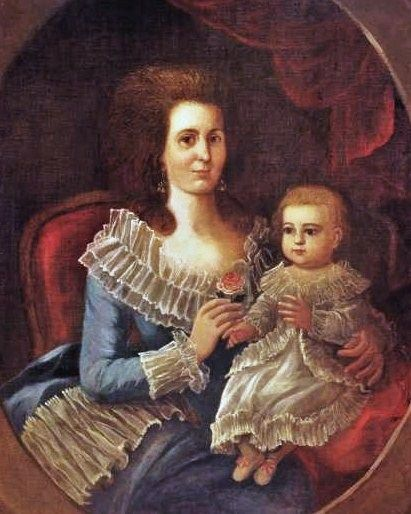 "Senora de Balderes and her baby, family native of New Orleans, Spanish colonial Louisiana, by Jose Francisco Xavier de Salazar y Mendoza (painter born in Merida, Mexico), ca. 1790. The family lived on Royal Street in what is now called the ""French Quarter"". Louisiana State Museum Senora de Balderes and Her Daughter Nueva Orleans.jpg"