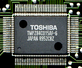 Toshiba TMPZ84C015; a standard Z80 with several Z80-family peripherals on chip in a QFP package TMPZ84C015AF 01.png