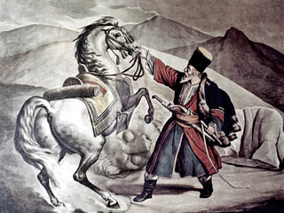 Tatar elder and his horse.