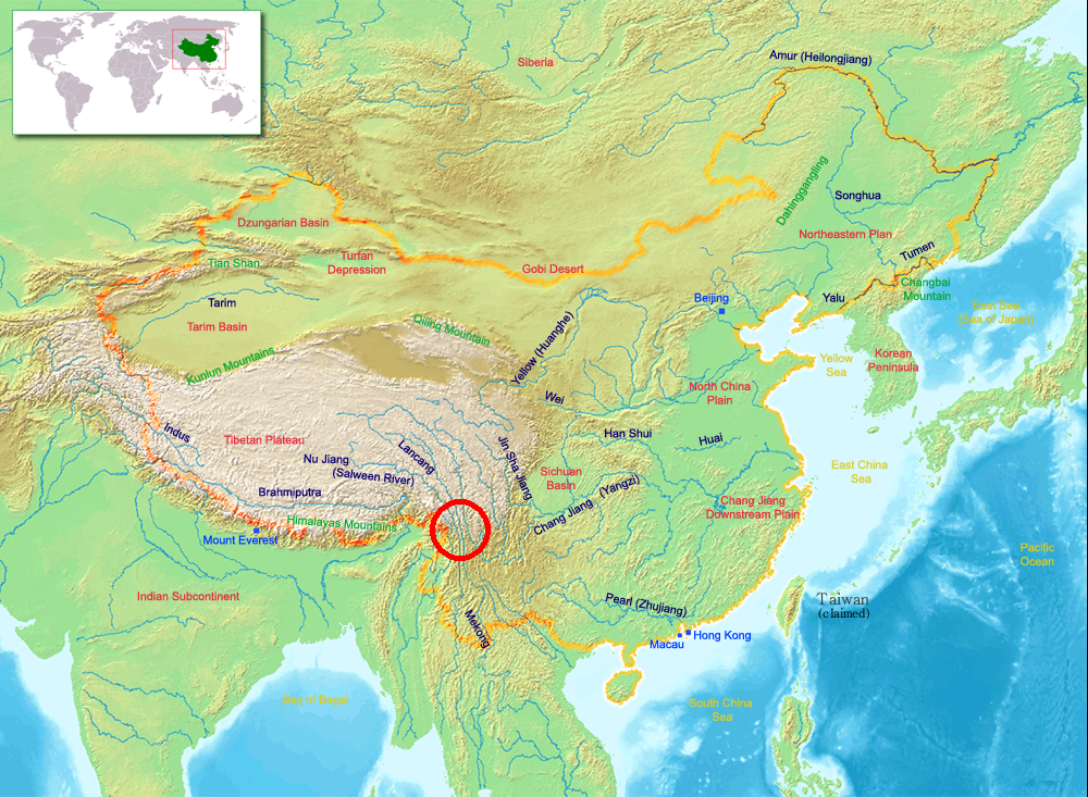 Map Of Asia Mountains And Rivers.Three Parallel Rivers Wikipedia