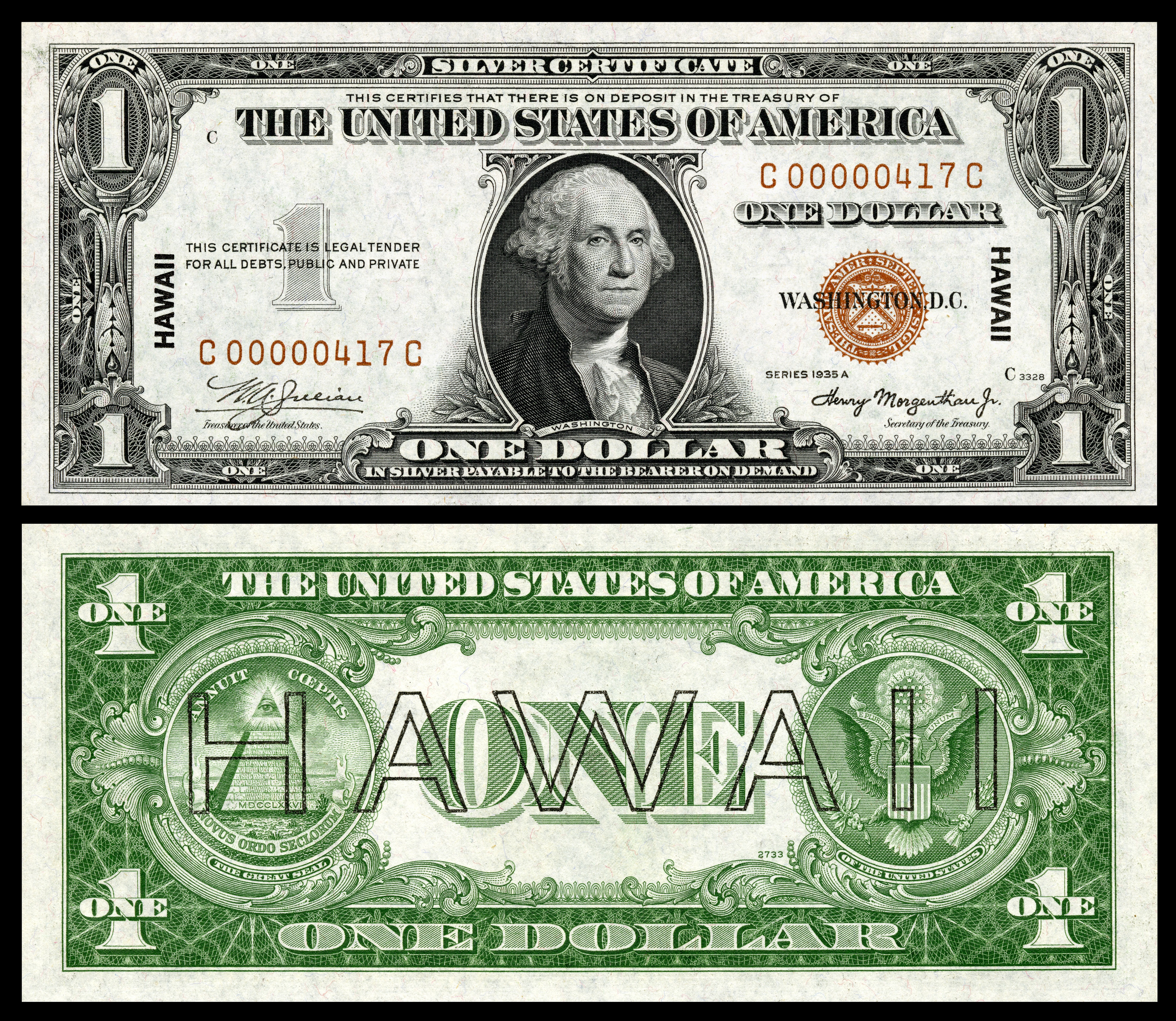 1 Silver Certificate Series 1935A Fr2300 Depicting George Washington