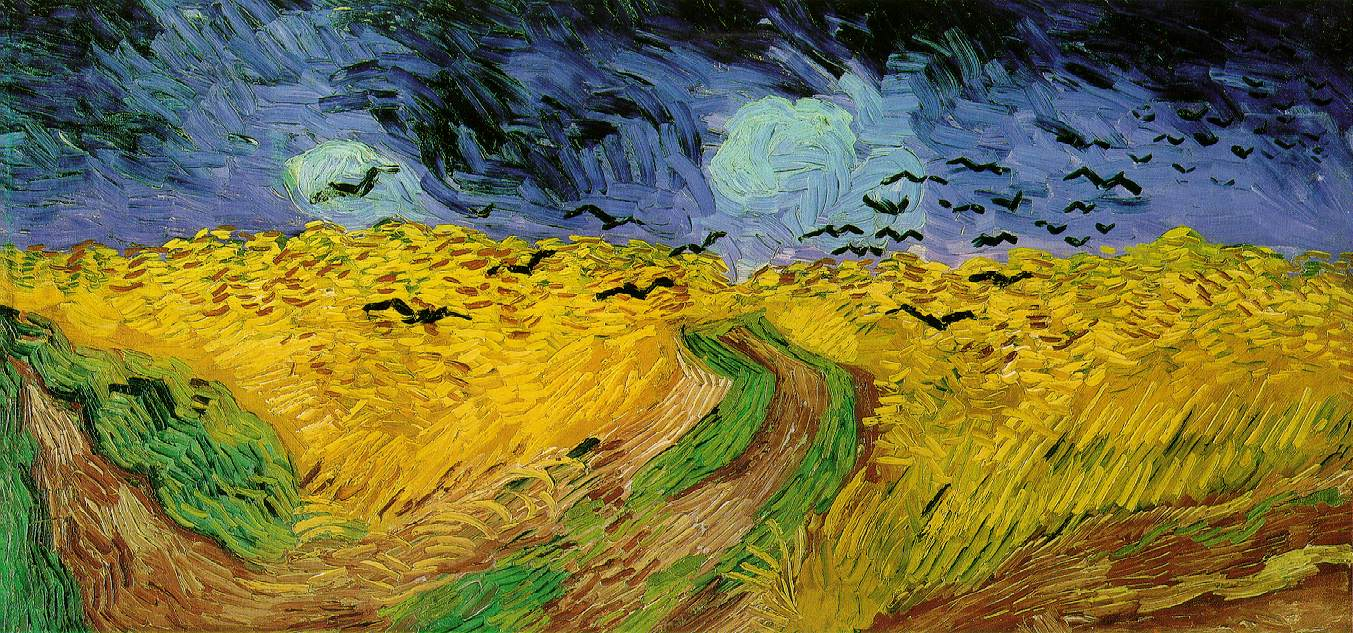 a golden-hued field with streaks of green and a blue sky and a flock of black birds in the background