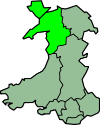 Gwynedd as a county from 1974 to 1996 when it included the Island of Anglesey