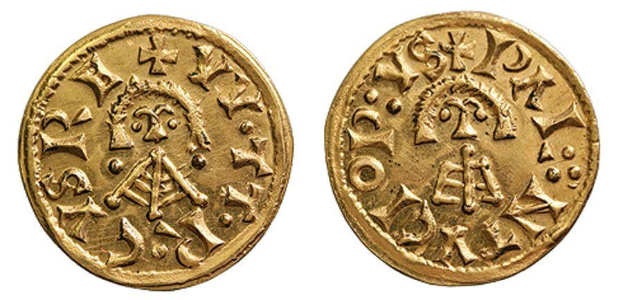 Reproducción moderna (siglo XX) de un tremis visigodo de oro acuñado en Palantucio durante el reinado de Witerico