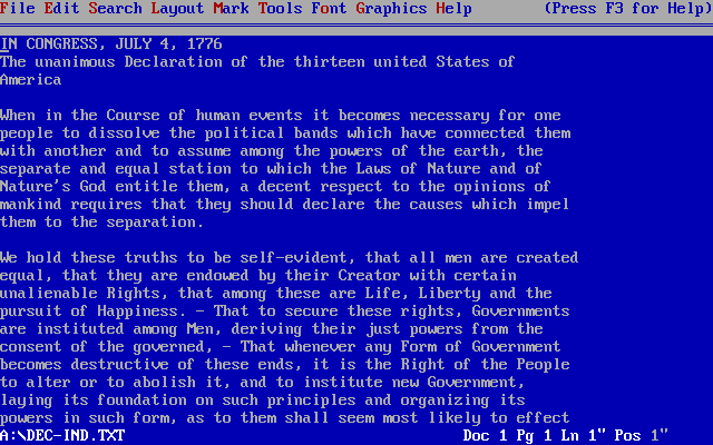 Image of WordPerfect  5.1 for DOS