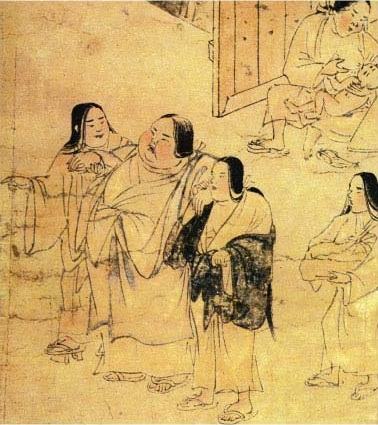 The disease scroll (Yamai no soshi, late 12th century) depicts a woman moneylender with obesity, considered a disease of the rich. Yamai no Soshi - Obesity.JPG