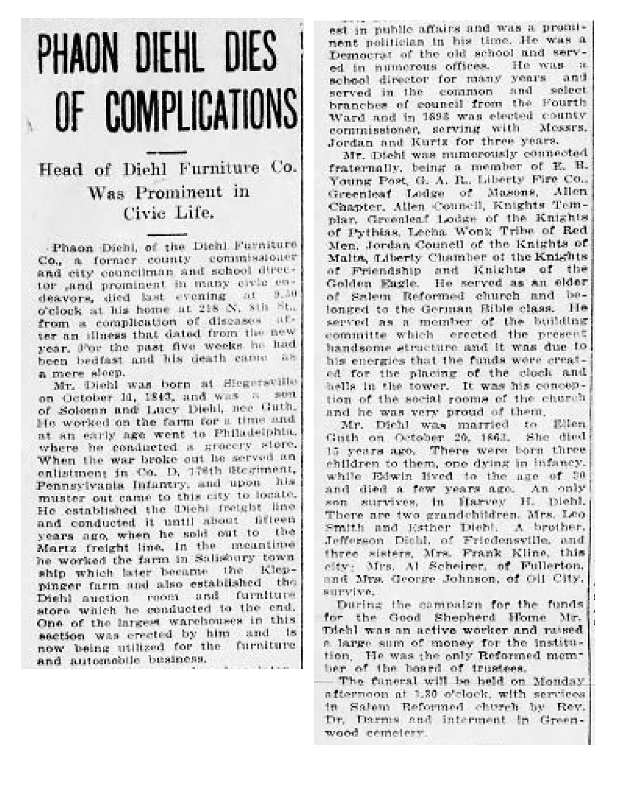 File:1917   Diehls Furniture Newspaper Article Allentown PA