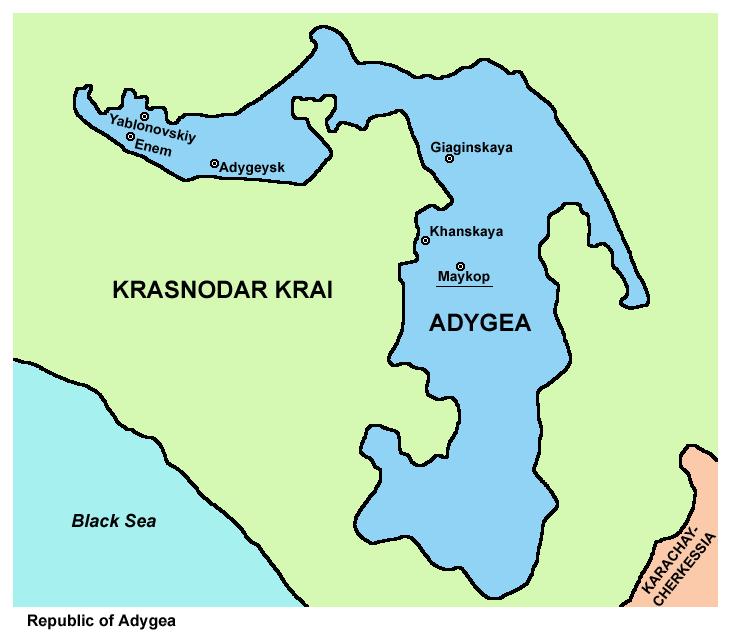 アディゲア共和国領域図