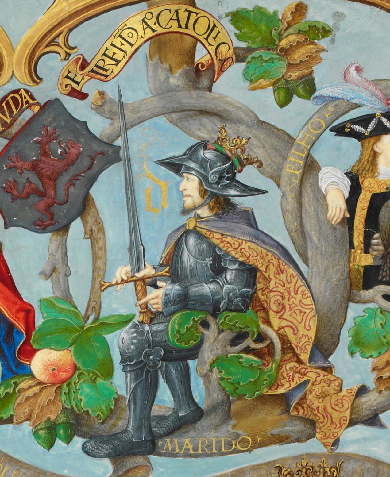 Alfonso I de Asturias, en una miniatura de Genealogia dos Reis de Portugal (1530-1534).