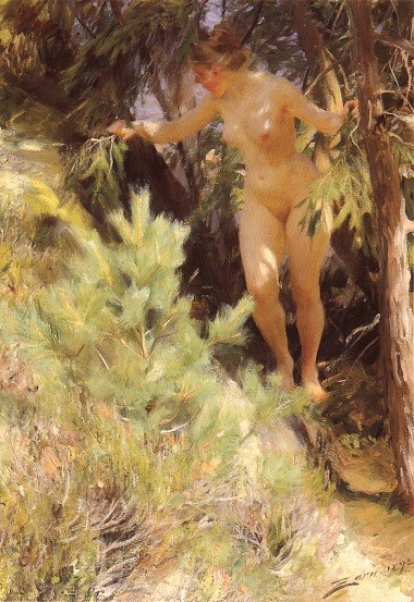 Nude under a tree