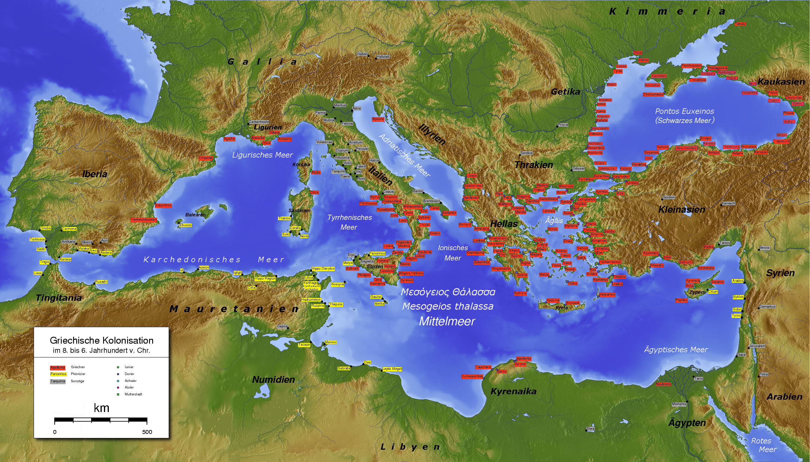 The Mediterranean in ca. the 6th century BC. Phoenician cities are labelled in yellow, Greek cities in red, and other cities in grey.
