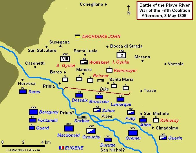 Battle of Piave showing afternoon positions Battle of Piave River 1809.JPG