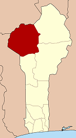 Map of Benin highlighting Atakora department