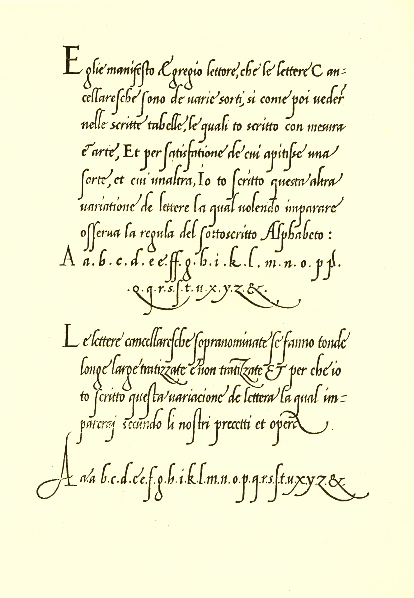 Giovanni Antonio Tagliente's 1524 writing manual. This section is engraved as a simulation of Tagliente's handwriting; other parts were set in a typeface of similar design.
