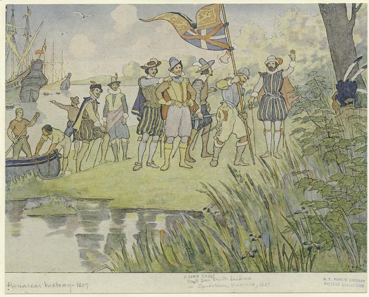 """Captain John Smith landing in Jamestown"""