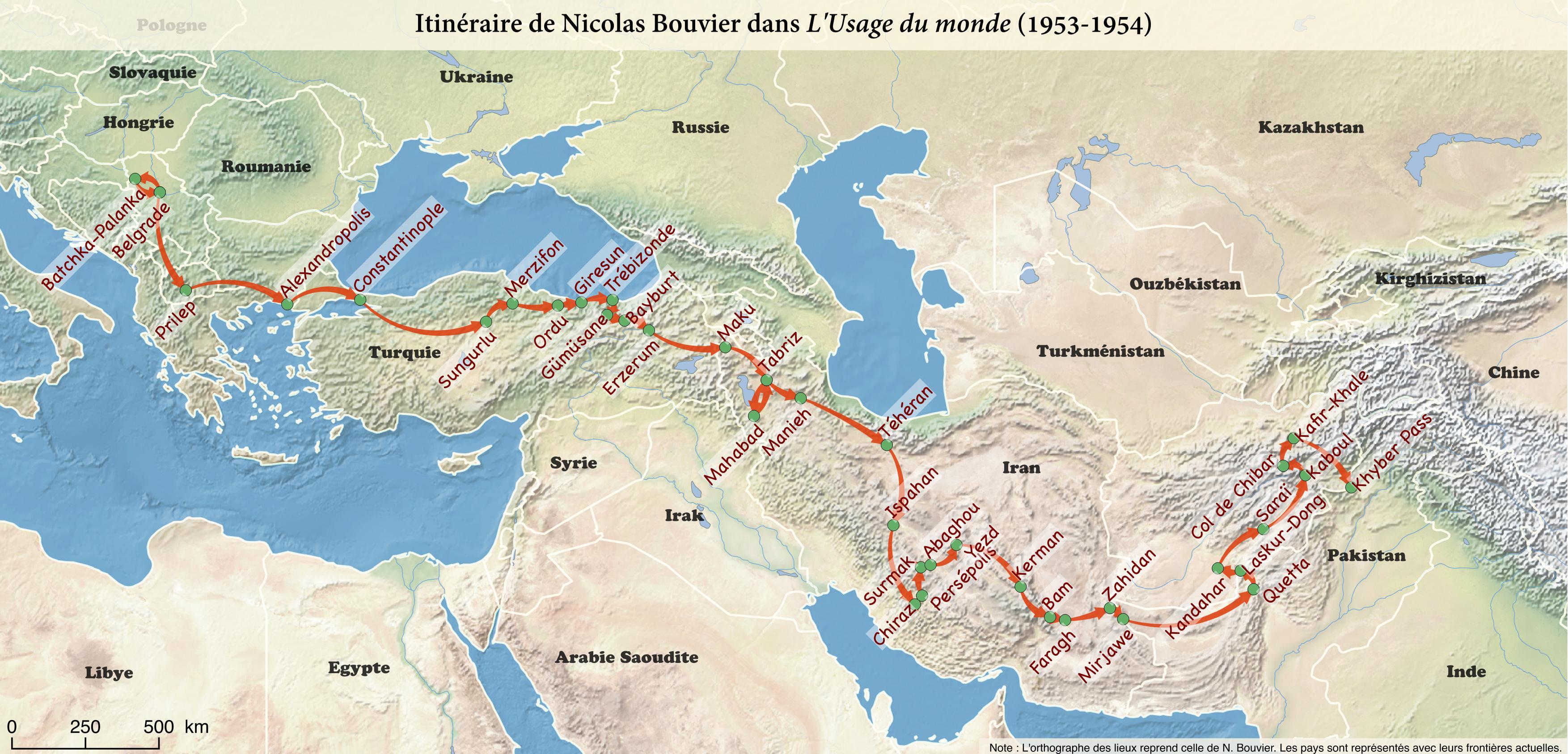 File:Carte du voyage de Nicolas Bouvier dans L'Usage du monde.