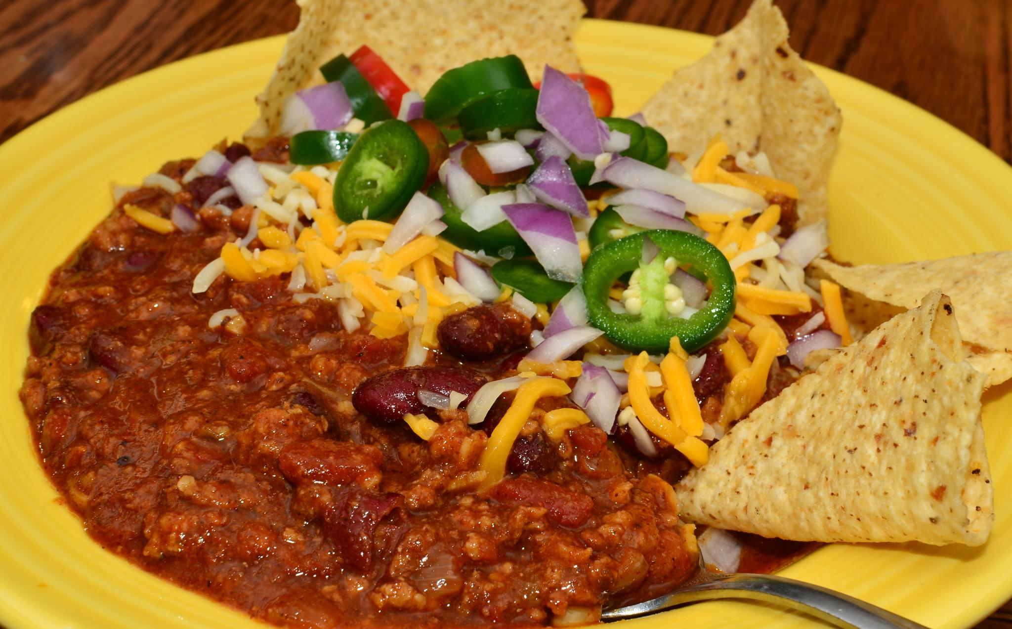 Veggie Chili Beans And Rice With Chili Garlic Chips Recipes ...